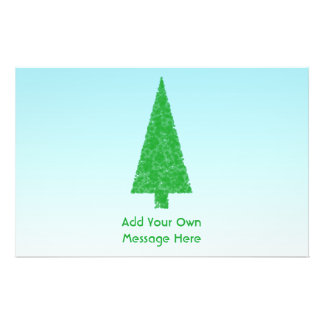 Green Christmas Tree. Blue and White. Custom Text Full Color Flyer