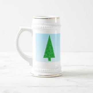 Green Christmas Tree. Blue and White. Custom Text Mug