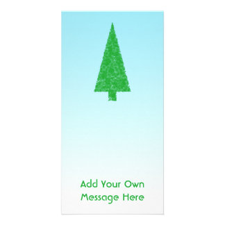 Green Christmas Tree Blue and White Custom Text Photo Greeting Card