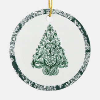 Green Christmas Tree Circle Ornament