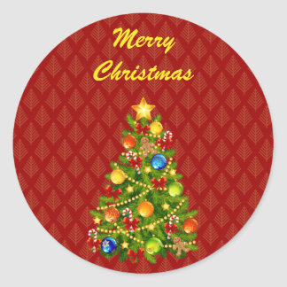 Green Christmas Tree Classic Round Sticker