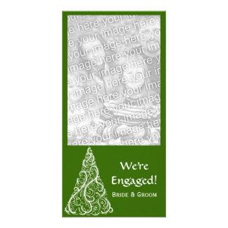 Green Christmas Tree Engagement Photo Card