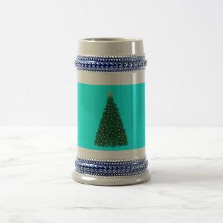 Green Christmas Tree, Gold Running Horses, Aqua Mug