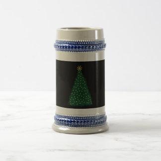 Green Christmas Tree, Gold Running Horses, Black Coffee Mug