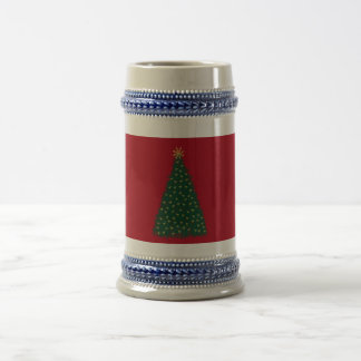 Green Christmas Tree, Gold Running Horses/Dark Red Mug