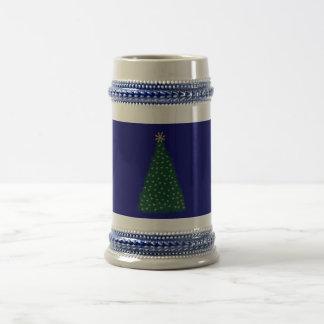 Green Christmas Tree, Gold Running Horses, Navy Mug