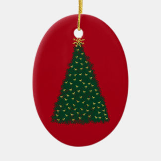 Green Christmas Tree, Gold Running Horses on Red Ceramic Oval Decoration