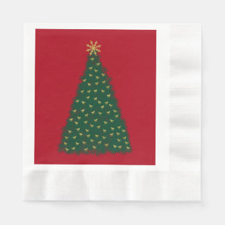 Green Christmas Tree, Gold Running Horses on Red Disposable Serviette