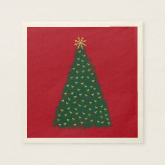 Green Christmas Tree, Gold Running Horses on Red Paper Napkin