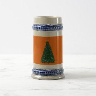 Green Christmas Tree, Gold Running Horses, Orange Mug