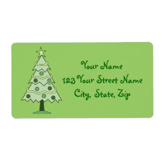 Green Christmas Tree Holiday Address Labels