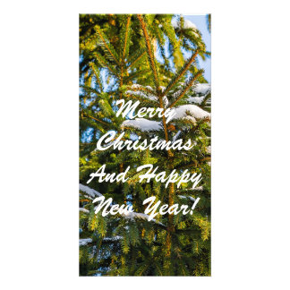 Green Christmas Tree In Snow Card