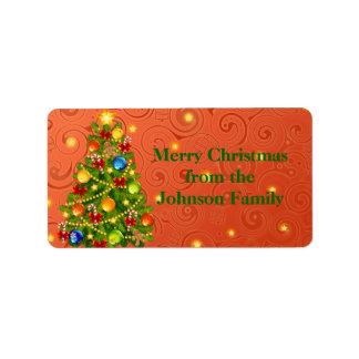 Green Christmas Tree on orange xmas pattern Label