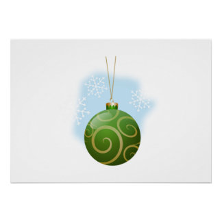 Green Christmas Tree Ornament Posters