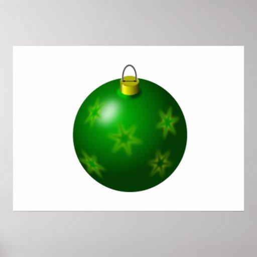 Green Christmas Tree Ornament Poster
