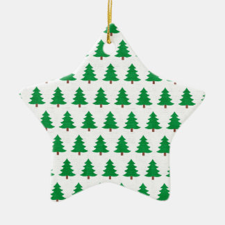 Green Christmas tree pattern, Two sided printing Ceramic Star Decoration