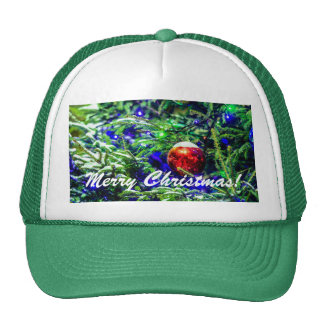 Green Christmas Tree Red Ball Cap