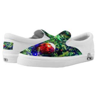 Green Christmas Tree Red Ball Slip-On Shoes