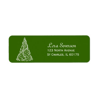 Green Christmas Tree Return Address