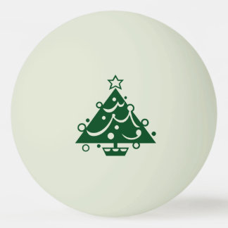 Green Christmas Tree Shape on Glow-in-the-Dark Ping Pong Ball