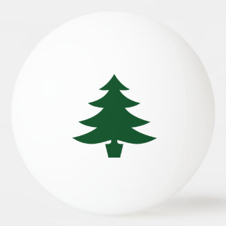 Green Christmas Tree Shape on White Ping Pong Ball