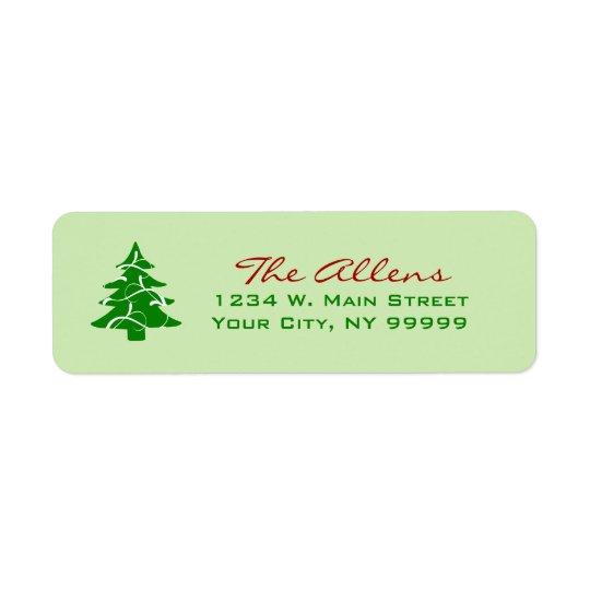 Green Christmas Tree Swirl Return Address Labels