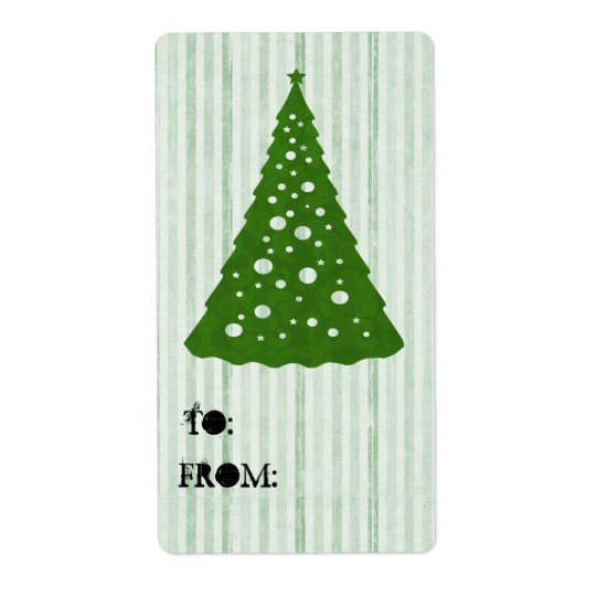 Green Christmas Tree To & From Labels