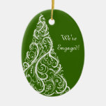 Green Christmas Tree Winter Engagement Ornament