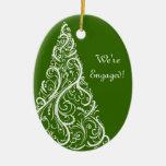 Green Christmas Tree Winter Engagement Ornament