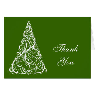 Green Christmas Tree Winter Holiday Thank You Greeting Card