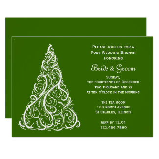 Green Christmas Tree Winter Post Wedding Brunch Card