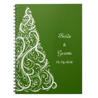 Green Christmas Tree Winter Wedding Notebook