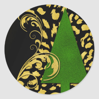 Green Christmas Tree with Black and Gold Swirls Classic Round Sticker