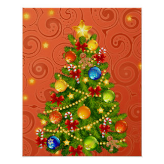 Green Christmas Tree  with decorations Poster