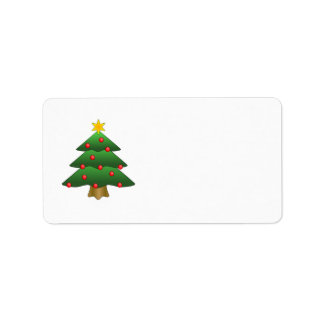 Green Christmas tree with star Address Label
