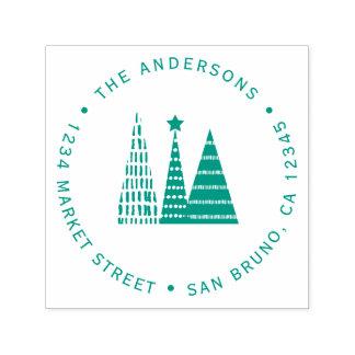 Green Christmas Trees | Custom Return Address Self-inking Stamp
