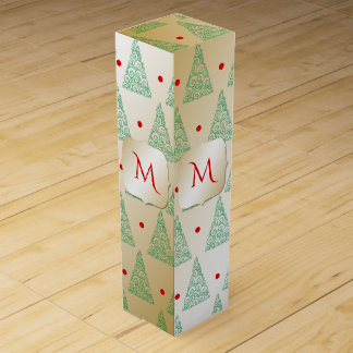 Green Christmas Trees on Gold Monogram Wine Box
