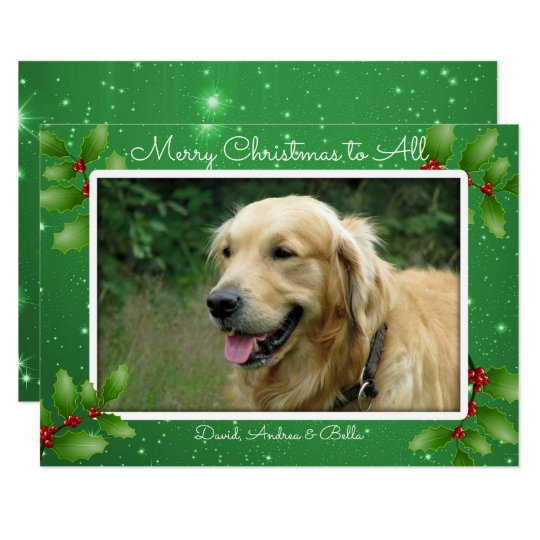 Green Christmas Twinkling Stars Big Photo Card