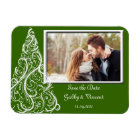 Green Christmas Winter Wedding Save the Date Photo Magnet
