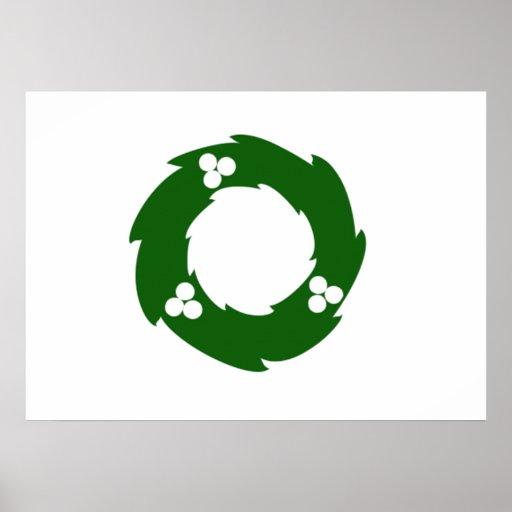 Green Christmas Wreath Poster