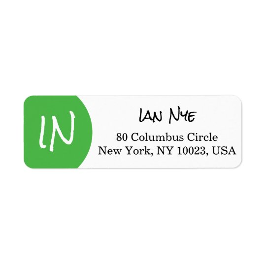 Green Circle/Dot Modern Custom Monogram Label