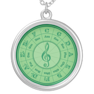 Green Circle of Fifths Round Pendant Necklace