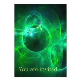 Green Circles 13 Cm X 18 Cm Invitation Card