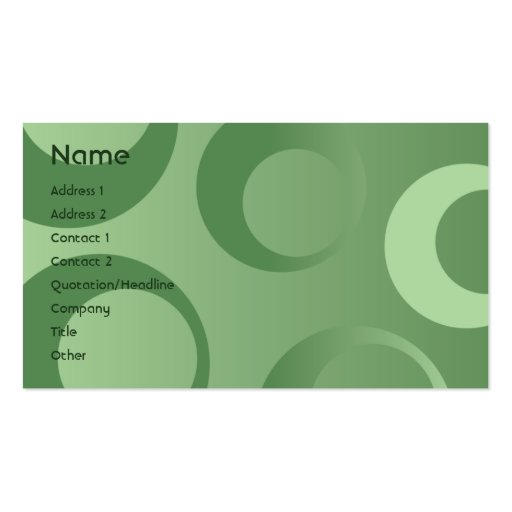 Green Circles - Business Pack Of Standard Business Cards