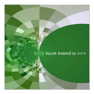Green Circles Geometric Fractal Abstract 13 Cm X 13 Cm Square Invitation Card