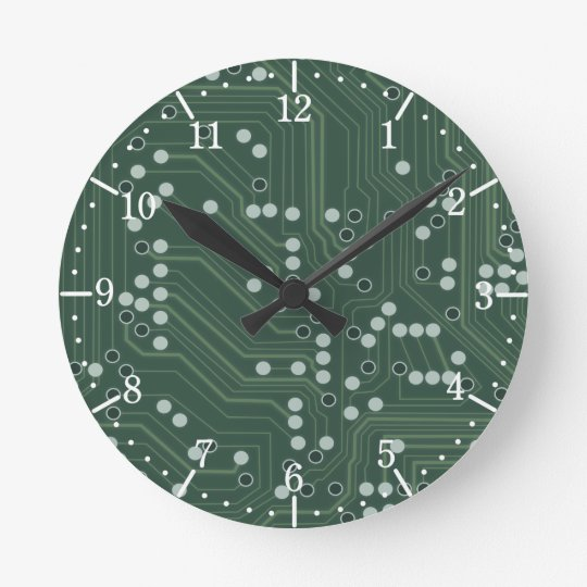 Green Circuit Board Background Pattern Art Wall Clocks