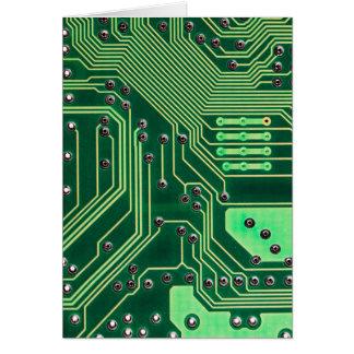 Green Circuit Board - Electronic Print Greeting Card