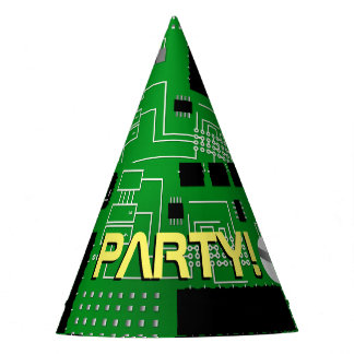Green circuit board party hat