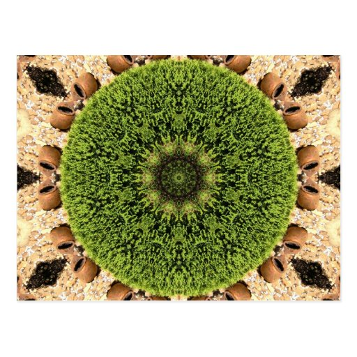 Green Circular Kaleidoscopic Postcards