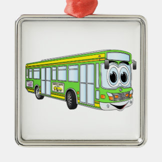 Green City Bus Cartoon Christmas Ornament